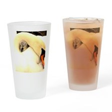 Mother Swan and Baby Drinking Glass