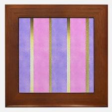 Blue and Pink Striped Framed Tile