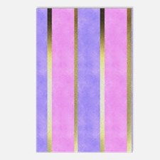 Blue and Pink Striped Postcards (Package of 8)