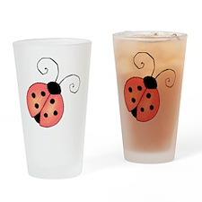 pink ladybug Drinking Glass