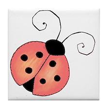 pink ladybug Tile Coaster