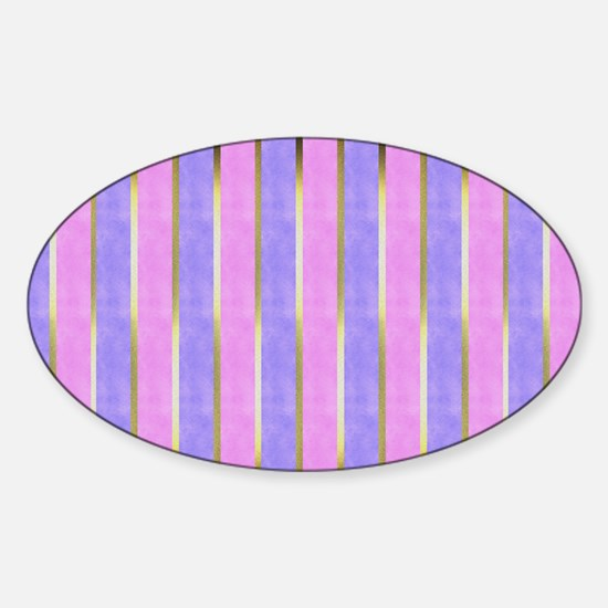 Blue and Pink Striped Sticker (Oval)