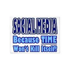 Social Media Kill Time 5'x7'Area Rug