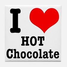 I Heart (Love) Hot Chocolate Tile Coaster