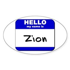 hello my name is zion Oval Decal