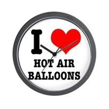 I Heart (Love) Hot Air Balloons Wall Clock