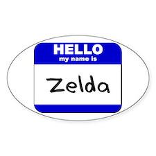 hello my name is zelda Oval Decal