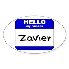 hello my name is zavier Oval Decal