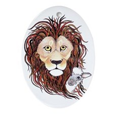 Peek-a-boo lamb with lion Oval Ornament