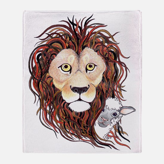 Peek-a-boo lamb with lion Throw Blanket