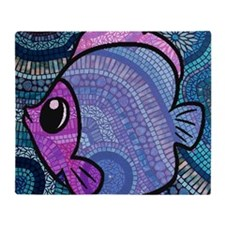 mosaic fish Throw Blanket