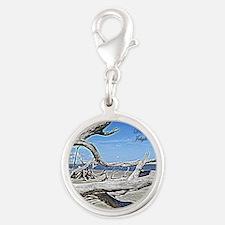 Driftwood Beach Silver Round Charm