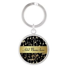 Gold and Black personalized musical notes Keychain