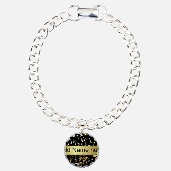 Gold and Black personalized musical notes Bracelet