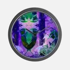 Abstract Rose Birds – Violet & Pink Wall Clock