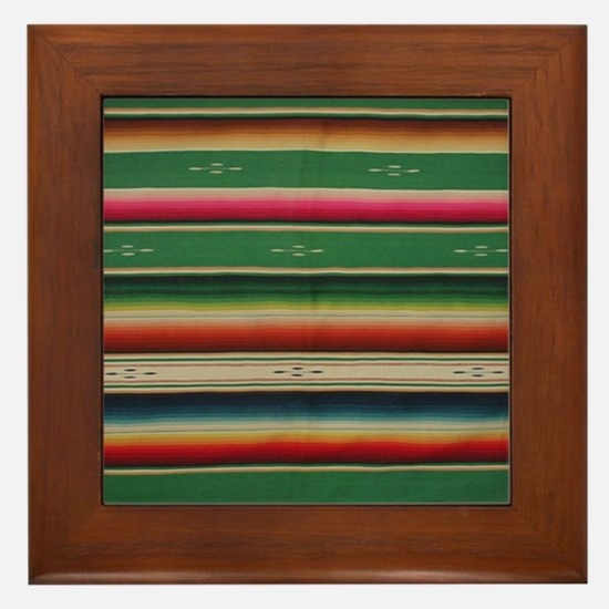 Vintage Green Mexican Serape Framed Tile