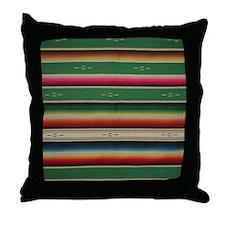 Vintage Green Mexican Serape Throw Pillow