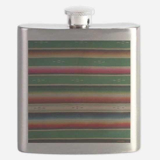Vintage Green Mexican Serape Flask