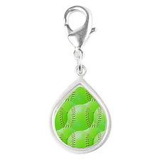 Softball Silver Teardrop Charm