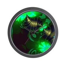Irish Goblin Emerald Gold Ribbons Wall Clock