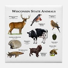 Wisconsin State Animals Tile Coaster