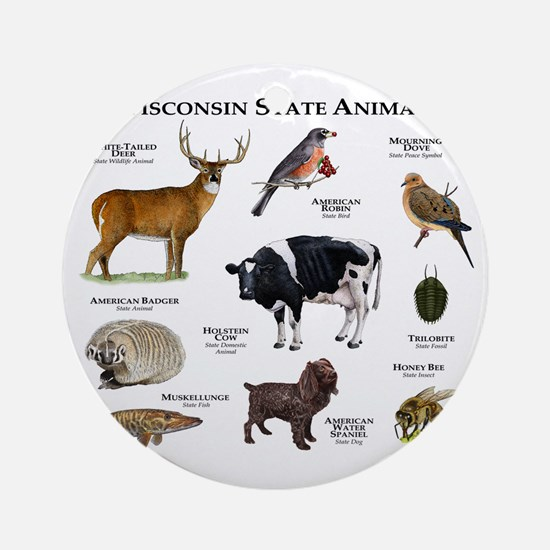 Wisconsin State Animals Round Ornament