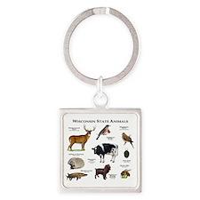 Wisconsin State Animals Square Keychain