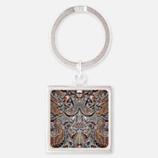 Brown Oriental Dragons Square Keychain