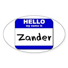 hello my name is zander Oval Decal