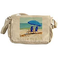 Beach, Umbrella and Chairs Messenger Bag
