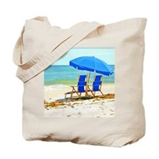 Beach, Umbrella and Chairs Tote Bag