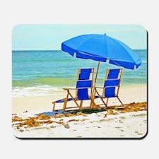 Beach, Umbrella and Chairs Mousepad