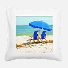 Beach, Umbrella and Chairs Square Canvas Pillow