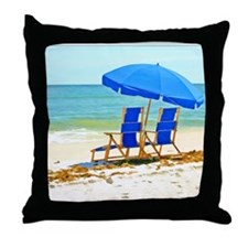 Beach, Umbrella and Chairs Throw Pillow