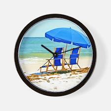 Beach, Umbrella and Chairs Wall Clock