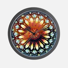 Fire Rose Mandala round Wall Clock