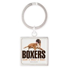Boxers Make a House a Home Square Keychain