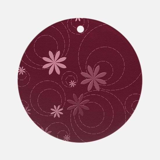 flowers and swirls deep red Round Ornament