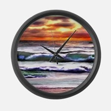 Sunset Over the Ocean Large Wall Clock