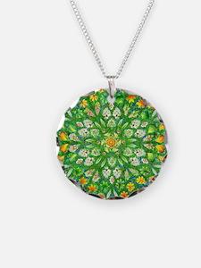 Forest Rose Mandala round Necklace