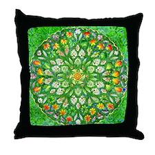 Forest Rose Mandala round Throw Pillow