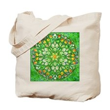 Forest Rose Mandala round Tote Bag