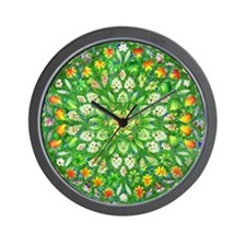 Forest Rose Mandala round Wall Clock