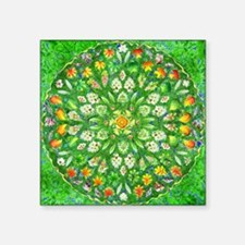 "Forest Rose Mandala round Square Sticker 3"" x 3"""