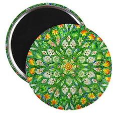 Forest Rose Mandala round Magnet