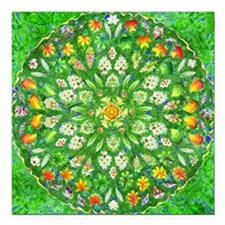 "Forest Rose Mandala roun Square Car Magnet 3"" x 3"""