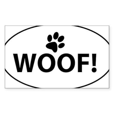 Woof! Sticker (Rectangle)
