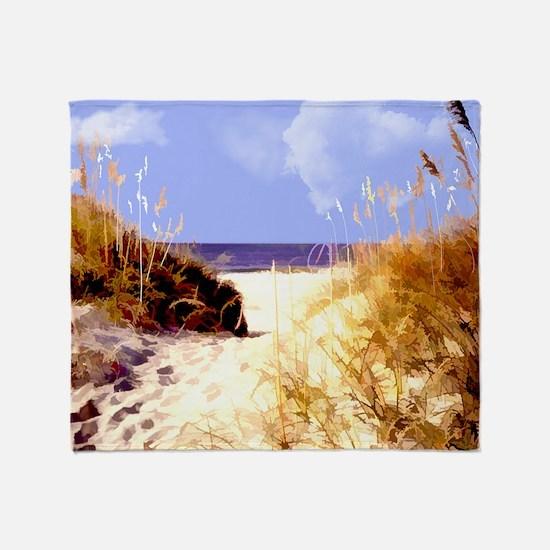 A Peek Through the Dunes to the Ocea Throw Blanket