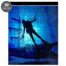 underwater wreck diver shower curtain copy Puzzle