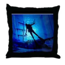 underwater wreck diver shower curtain Throw Pillow